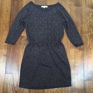 LOFT Pearl & Rhinestone Embellished Sweater Dress